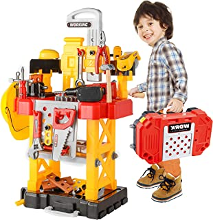 Toy Choi`s Pretend Play Series Transformable Workbench Toy Tool Play Set, 83Pieces Construction Work Shop Toy Tool Kit Bench Outdoor Preschool Toy Gift for Kids Toddler Baby Children Boys and Girls