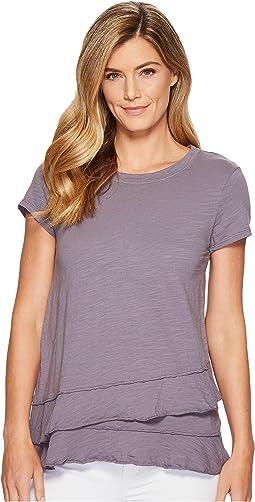 Mod-o-doc - Slub Jersey Asymmetrical Flounce Hem T-Shirt