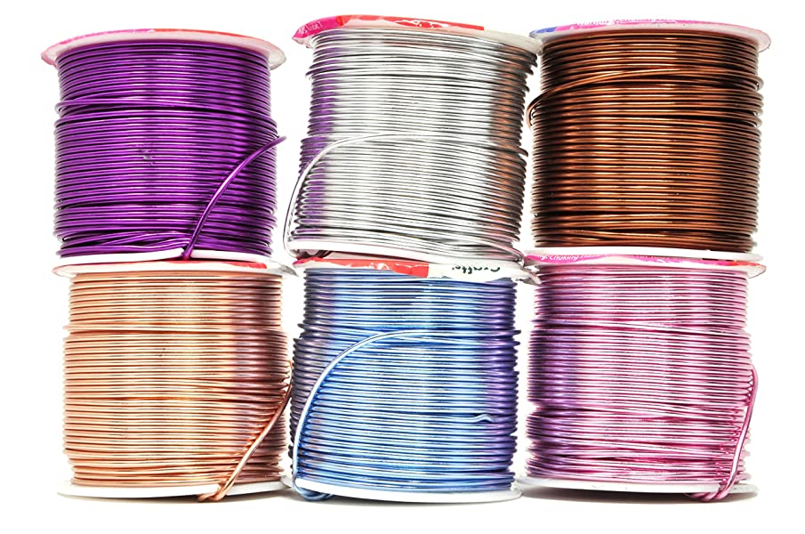 Mandala Crafts Anodized Aluminum Wire for Sculpting, Armature, Jewelry Making, Gem Metal Wrap, Garden, Colored and Soft, Assorted 6 Rolls (16 Gauge, Comb 10)