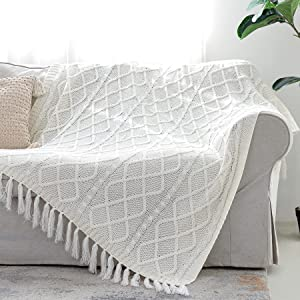 Solid Soft Cozy Cable Knitted Blanket Throw, Lightweight Decorative Textured Throw Blanket with Fringes for Couch Chairs Bed Sofa, Off White, 50