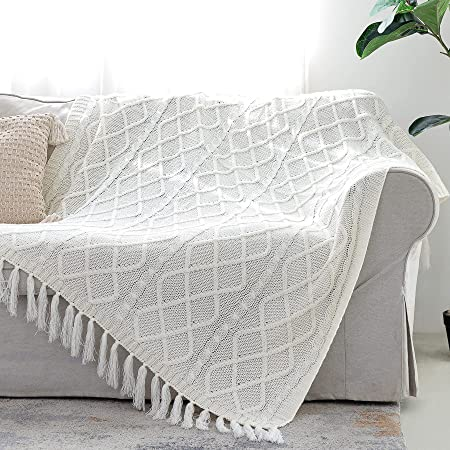 """Solid Soft Cozy Cable Knitted Blanket Throw, Lightweight Decorative Textured Throw Blanket with Fringes for Couch Chairs Bed Sofa, Off White, 50"""" x 60"""""""