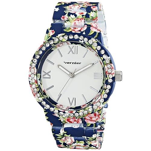 Vernier Womens VNR11168BL Blue Floral and Rhinestone Watch