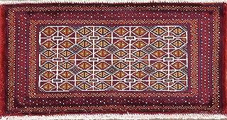 Handmade Geometric Tribal 1x3 Turkoman Bokhara Oriental Area Rug Carpet Ivory (1' 4'' X 2' 8'')