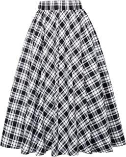 Best black and white plaid a line skirt Reviews