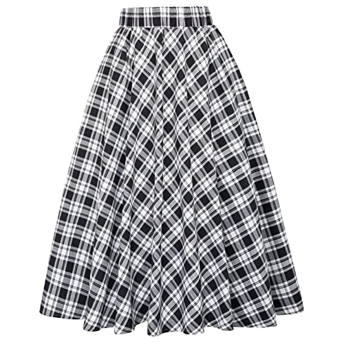 81074ee858 Kate Kasin Women's A-Line Vintage Skirt Grid Pattern Plaid KK633/ KK495
