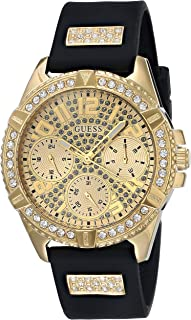 GUESS Gold-Tone Stainless Steel Crystal Encrusted Dial with Black Stain Resistant Silicone Watch (Model: U1160L1)