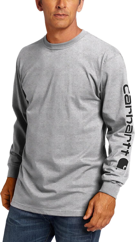 Carhartt Men's Big & Tall Signature Sleeve Logo Long Sleeve T-Shirt ,Heather Grey,3X-Large/Tall