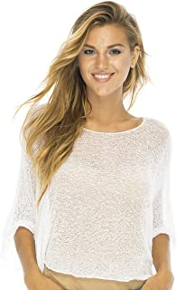 Back From Bali Womens Sheer Blouse Top Lightweight Knit Shrug Sweater Poncho