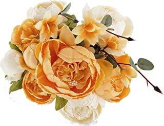 Ezflowery 1 Pack Artificial Peony Silk Flowers Arrangement Bouquet for Wedding Centerpiece Room Party Home Decoration, Elegant Vintage, Perfect for Spring, Summer and Occasions (1, Orange)
