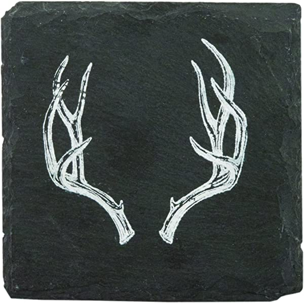 Rustic Holiday Antler Slate Coasters By Twine