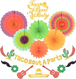 Taco Bout a Party Decorations | Gold Glitter Taco Bout a Party Banner Sign | Beautiful colors paper tissue fans | for Mexican Fiesta Themed Birthday Bachelorette Wedding Party Decor Baby Shower Decorations Supplies | Cinco De Mayo