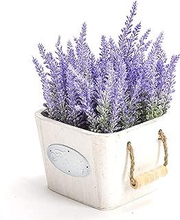 LODESTAR Artificial Fake Purple Lavender Flower Bouquet in White Pot Indoor Outdoor Home Decoration (Purple)