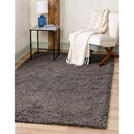 Cozy Shag Collection Charcoal Grey Solid Shag Rug 6 7 X9 3 Contemporary Living And Bedroom Soft Shaggy Area Rug Furniture Decor