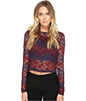 ROMEO & JULIET COUTURE - Long Sleeve Crop Lace Top
