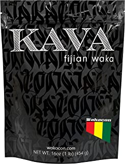 Wakacon KAVA WAKA Powder - Fijian Noble Premium High Quality Kava Root Powder (16oz)