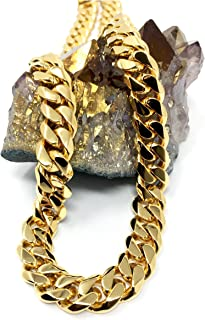 Gold Cuban Link Chain Necklace for Men Real 14MM 24K Karat Diamond Cut Heavy w Solid Thick Clasp US Made
