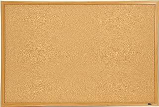 INNOVART Bulletin Board, Cork Board, 48 x 36 Inches, Oak Wood Finish Frame Corkboard with Push Pins