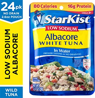 StarKist Low Sodium Albacore White Tuna in Water - 2.6 oz Pouch (Pack of 24)