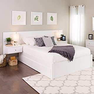 platform bed with floating nightstands