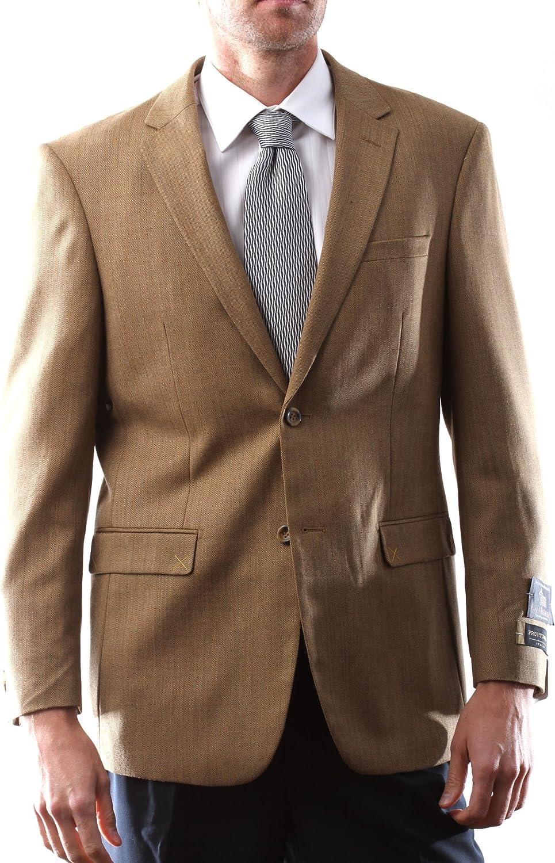 Prontomoda Italia Men's 2 Button Wool Cashmere Toast Color Sport Coat