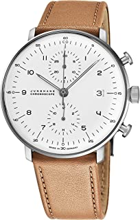 Max Bill Chronoscope Mens Automatic Chronograph Watch - 40mm Analog Silver Face with Luminous Hands and Date - Stainless Steel Brown Leather Band Luxury Watch Made in Germany 027/4502.00