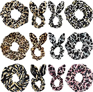 SUSULU Set of 12 Leopard Velvet Scrunchies Bunny Ear Bow Hair Ties Ponytail Holder (Mix Styles)