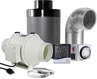 PrimeGarden 4'' Inline Duct Ventilation Fan Vent Blower Carbon Filter Ducting Combo + Hygrometer Thermometer + 24 Hour Timer Outlet for Hydroponics Grow Tent Ventilation System (4'' Fan Filter Kit)
