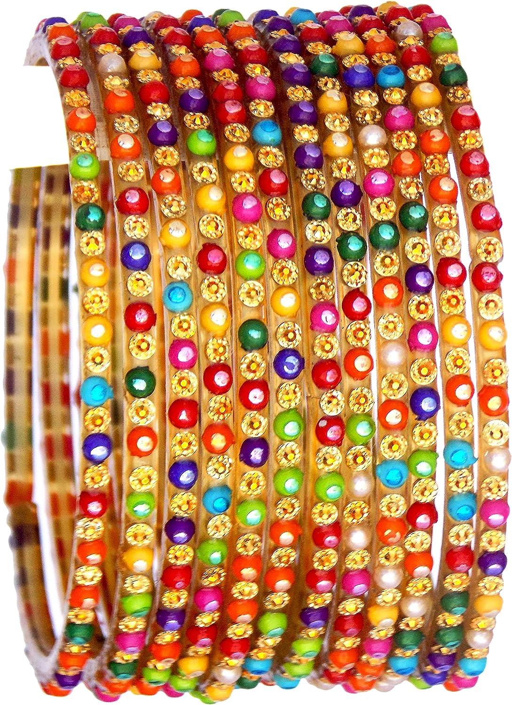 JD'Z COLLECTION Indian Glass Bangles Multi Color Bridal Fancy Fashion Jewelry Bangle Set of 12 Bangle Bracelet