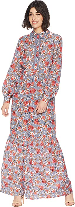 Larchmont Blooms Silk Maxi Dress