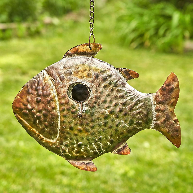 Zaer Ltd. Hanging Galvanized Shaped Genuine Fish Regular discount Animal Birdhouses