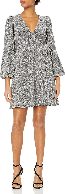 Donna Morgan Women's Sequin Knit Full Wrap Dress