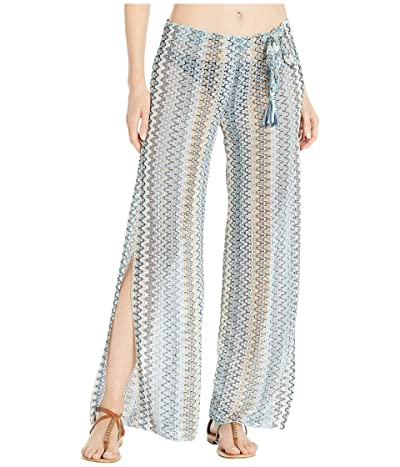 BECCA by Rebecca Virtue Wander Crochet Sheer Side Slit Pants Cover-Up (Blue) Women