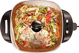 BELLA (14607) 12 x 12 Inch Electric Skillet with Copper Titanium Coating, 1200 Watts Immersible Non-Stick Multipurpose Skillet with Tempered Glass Lid