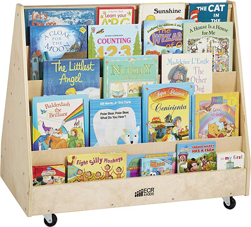 ECR4Kids ELR 0335 Birch Hardwood Double Sided Book Display Stand For Kids 10 Shelves Natural