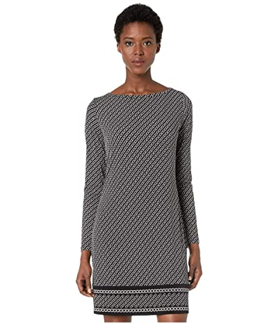MICHAEL Michael Kors Chain Stripe Long Sleeve Border Dress (Black/Silver) Women