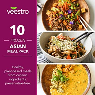 Veestro Asian Prepared Meals, Ready-to-Eat, Organic, Plant-Based, Preservative-Free, Dairy-Free, Microwaveable (10 Pack)
