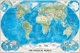 National Geographic World Physical Wall Map - 45.75 x 30.5 inches - Art Quality Print