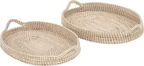 "Deco 79 41196 Sea Grass Oval Trays (Set of 2), 26"" x 27"", Brown"