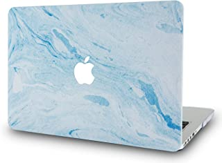 LuvCase Rubberized Plastic Hard Shell Case Cover Compatible MacBook Air 13 Inch A1466 & A1369 (No Touch ID) (Blue White Marble 3)