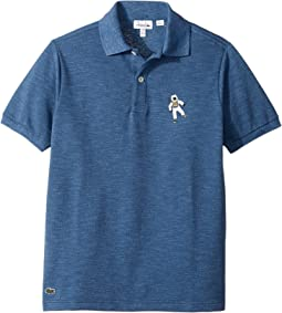 Lacoste Kids - Short Sleeve Polo with Astronaut Print Cotton Piqué Polo (Toddler/Little Kids/Big Kids)