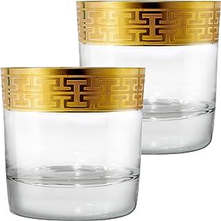 Zwiesel 1872 Hommage Gold Classic Whiskyglas Gross, 2er Set, Whisky Tumbler, Spirituosen Glas, Kristallglas, 397 ml, 120624