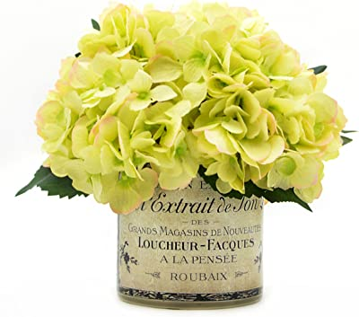 Green Hydrangea Bouquet In A French Label Pot Color Magenta Pink Home Kitchen