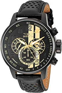 Men's S1 Rally 48mm Stainless Steel Chronograph Quartz Watch with Black Leather Band, Black...