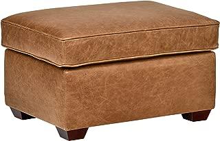 Rivet Top-Grain Leather Ottoman – Andrews, Modern Classic, 29.5