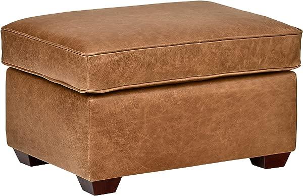Rivet Top Grain Leather Ottoman Andrews Modern Classic 29 5 W Cognac