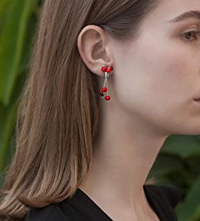 Stud Post Dangle Sterling Silver 925 with Red and Black Huayruro Seed Earrings, Peruvian 'Good Fortune' Bouquet of Triple Wire Strands, Polished finish, 2 Inches Long, Handmade. Great Gift Set