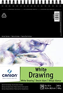 Canson Artist Series 1557 Pure White Drawing Paper Pad, Fine Texture, Top Wire Bound, 80 Pound, 9 x 12 Inch, Bright White, 24 Sheets