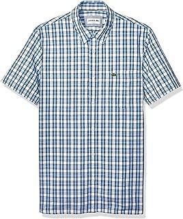Mens Short Sleeve Poplin Gingham Cotton Slim Button Down Shirt
