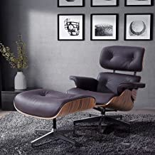 Mecor Lounge Chair with Ottoman, Mid Century Palisander Chair, 100% Grain Italian Leather Recliner Chair with Heavy Duty Base Support for Living Room (Brown-1)