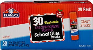 Elmer's Disappearing Purple School Glue Sticks, Washable, 22 Gram, 30 Count (E605)